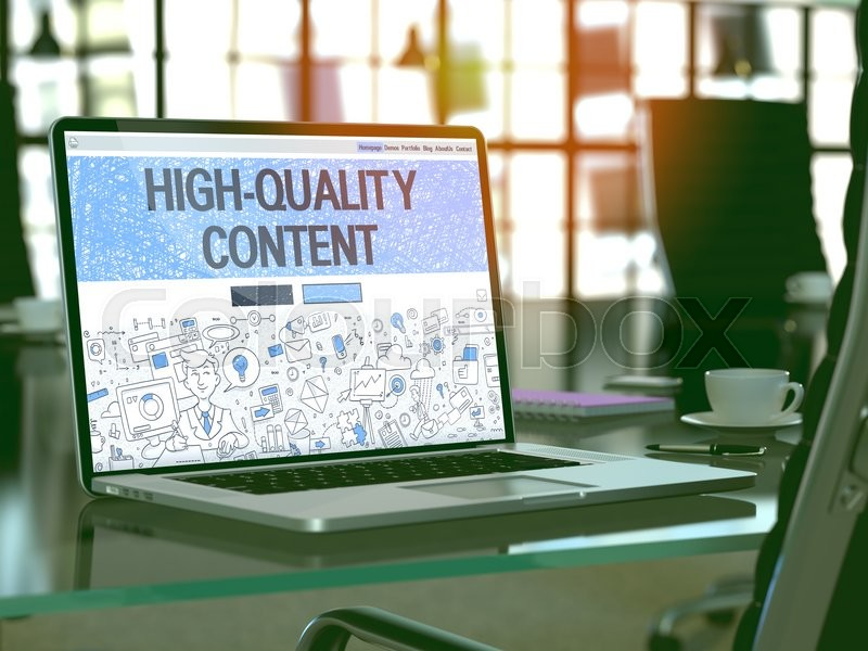 Stock image of 'High-Quality Content Concept - Closeup on Landing Page of Laptop Screen in Modern Office Workplace. Toned Image with Selective Focus. 3D Render.'