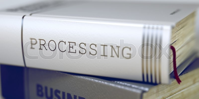 Stock image of 'Book Title of Processing. Business - Book Title. Processing. Stack of Books Closeup and one with Title - Processing. Blurred Image. Selective focus. 3D Rendering.'