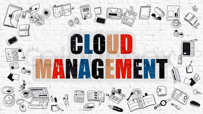 Stock image of 'Cloud Management. Multicolor Inscription on White Brick Wall with Doodle Icons Around. Modern Style Illustration with Doodle Design Icons. Cloud Management on White Brickwall Background.'
