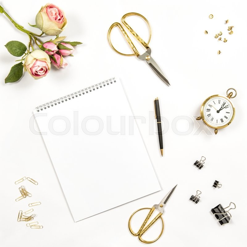 Stock image of 'Sketchbook, flowers, office tools and accessories. Flat lay notebook, top view'