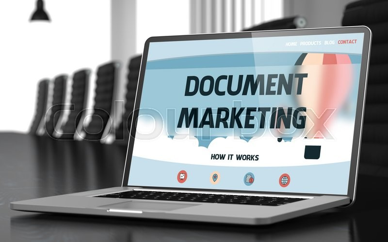 Stock image of 'Document Marketing Concept. Closeup Landing Page on Laptop Screen on Background of Meeting Hall in Modern Office. Blurred. Toned Image. 3D Rendering.'