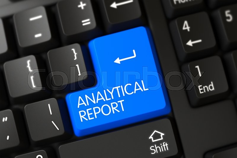 Stock image of 'Analytical Report Concept: Modern Keyboard with Analytical Report on Blue Enter Button Background, Selected Focus. Analytical Report Key on Black Keyboard. 3D.'
