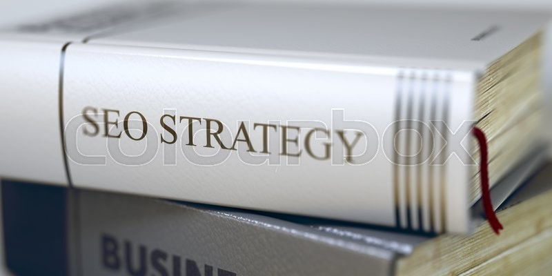 Stock image of 'Stack of Books Closeup and one with Title - Seo Strategy. Close-up of a Book with the Title on Spine Seo Strategy. Business - Book Title. Seo Strategy. Blurred 3D Illustration.'