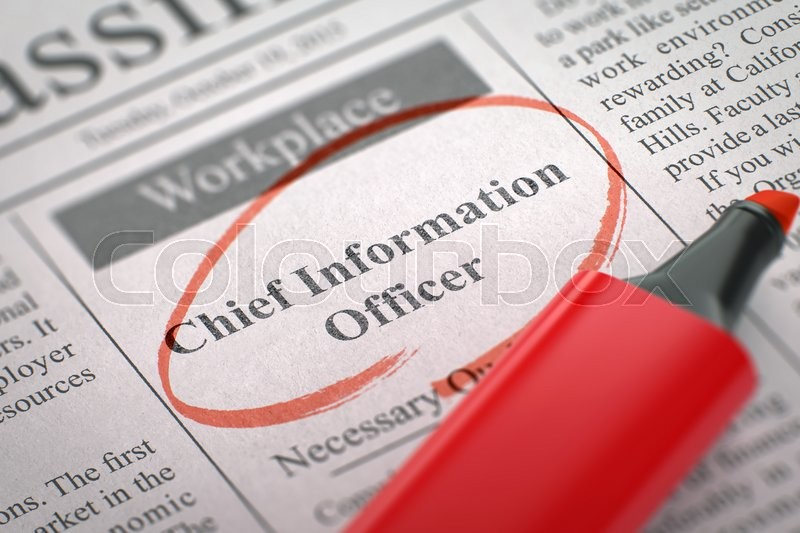 Stock image of 'Chief Information Officer - Advertisements and Classifieds Ads for Vacancy in Newspaper, Circled with a Red Highlighter. Blurred Image with Selective focus. Job Seeking Concept. 3D Render.'