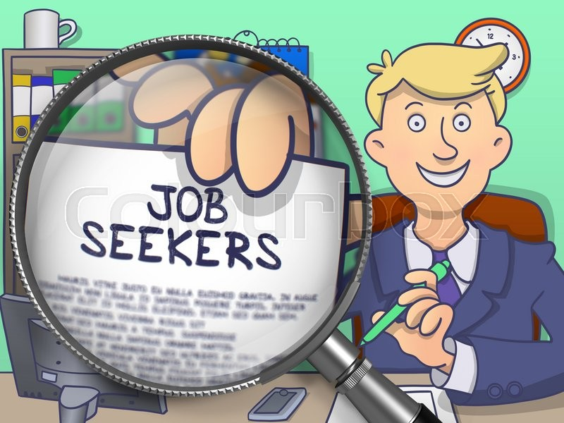Stock image of 'Job Seekers. Cheerful Officeman in Office Shows Paper with Text through Magnifying Glass. Colored Doodle Illustration.'