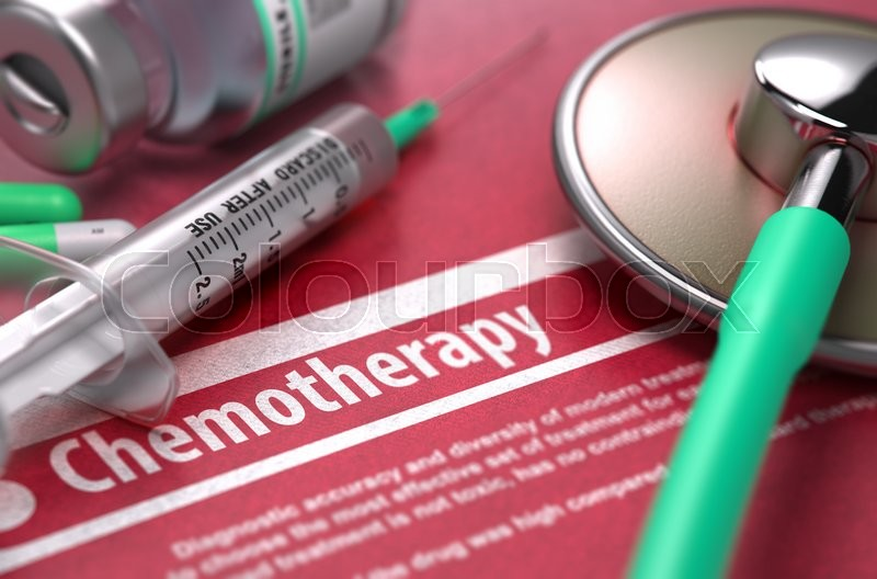 Stock image of 'Chemotherapy - Medical Concept on Red Background with Blurred Text and Composition of Pills, Syringe and Stethoscope. Selective Focus. 3D Render.'