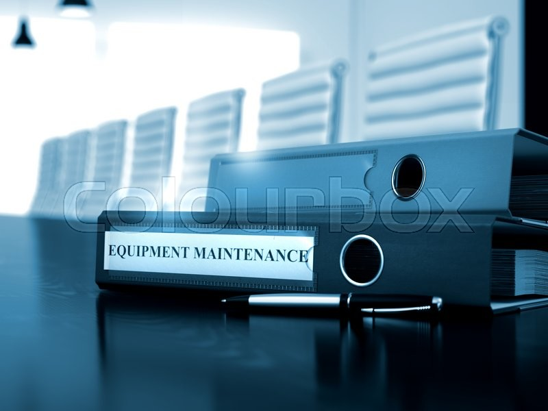 Stock image of 'Equipment Maintenance - Binder on Wooden Table. Equipment Maintenance. Business Illustration on Toned Background. 3D Render.'