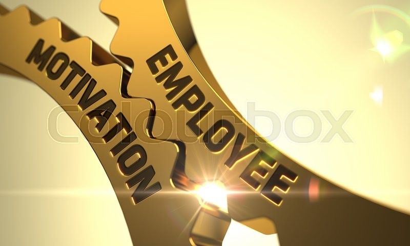 Stock image of 'Employee Motivation - Concept. Employee Motivation Golden Metallic Cogwheels. Employee Motivation - Illustration with Glowing Light Effect. 3D Render.'
