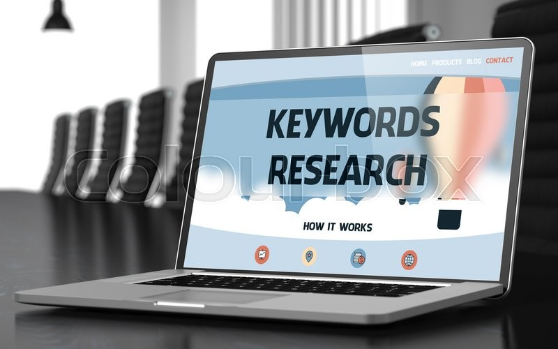 Stock image of 'Keywords Research Concept. Closeup Landing Page on Laptop Display on Background of Conference Hall in Modern Office. Toned Image with Selective Focus. 3D Render.'