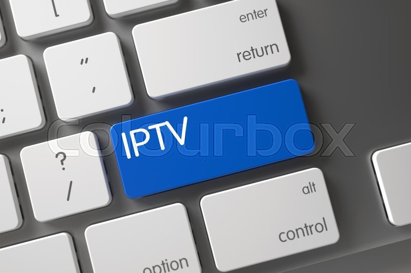 Stock image of 'Modern Keyboard with the words Iptv on Blue Button. Iptv CloseUp of Computer Keyboard on Laptop. Iptv Written on Blue Keypad of Laptop Keyboard. Iptv Keypad. 3D Render.'