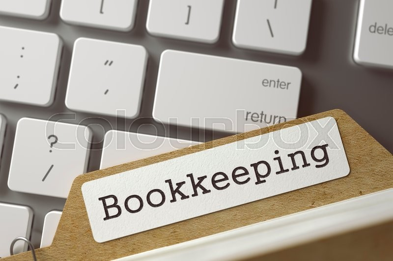 Stock image of 'Bookkeeping written on  Archive Bookmarks of Card Index Lays on White Modern Computer Keyboard. Archive Concept. Closeup View. Selective Focus. Toned Illustration. 3D Rendering.'