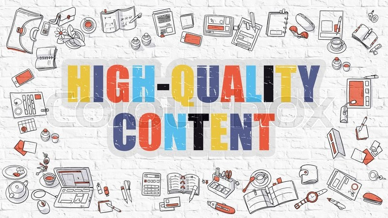 Stock image of 'High-Quality Content. Multicolor Inscription on White Brick Wall with Doodle Icons Around. Modern Style Illustration with Doodle Design Icons. High-Quality Content on White Brickwall Background.'