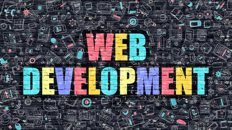 Stock image of 'Web Development. Multicolor Inscription on Dark Brick Wall with Doodle Icons. Web Development Concept in Modern Style. Doodle Design Icons. Web Development on Dark Brickwall Background.'