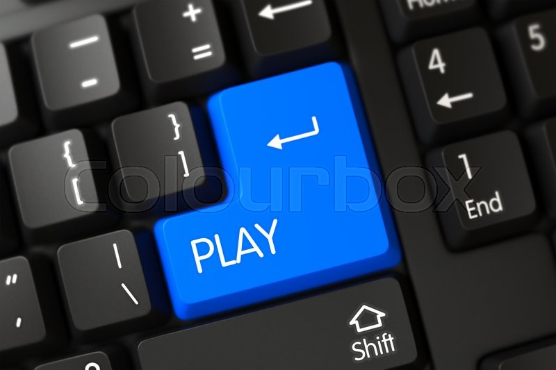 Stock image of 'Computer Keyboard with Hot Button for Play. Concepts of Play, with a Play on Blue Enter Key on Modern Laptop Keyboard. Play on PC Keyboard Background. 3D Render.'