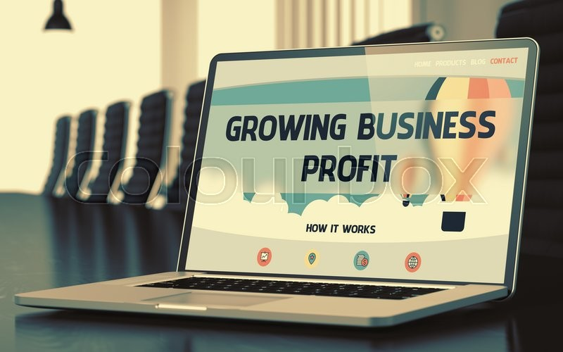 Stock image of 'Growing Business Profit Concept. Closeup of Landing Page on Mobile Computer Display in Modern Meeting Hall. Toned Image with Selective Focus. 3D Render.'