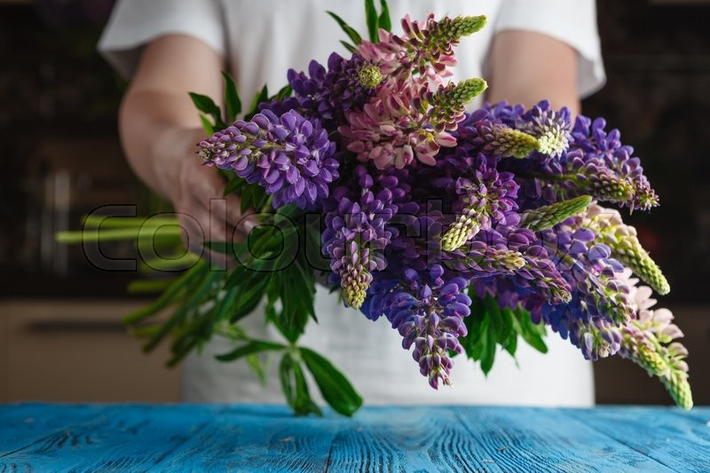 Stock image of 'Female hold Bouquet of summer flowers lupine'