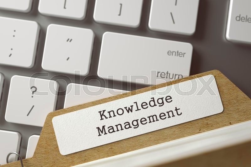Stock image of 'Knowledge Management. Index Card on Background of Computer Keyboard. Business Concept. Closeup View. Selective Focus. Toned Illustration. 3D Rendering.'