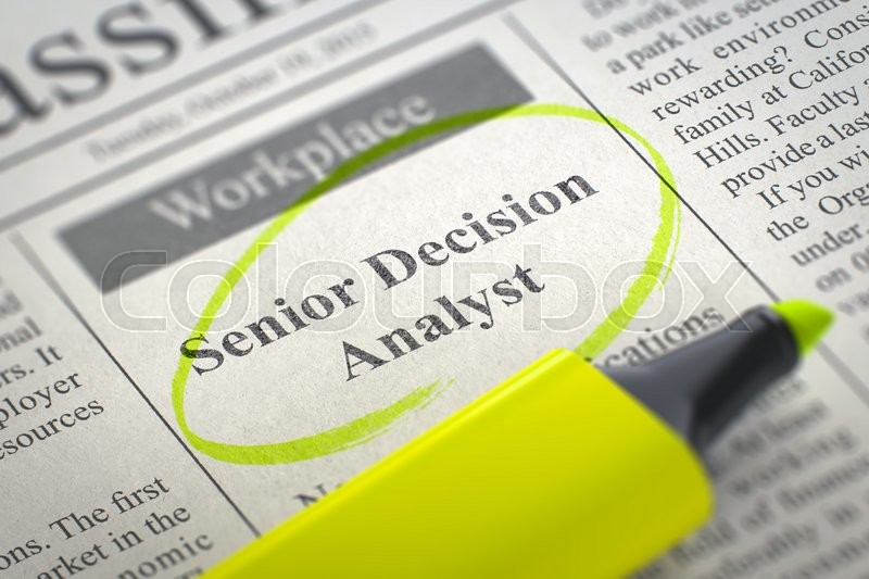 Stock image of 'Newspaper with Jobs Section Vacancy Senior Decision Analyst. Blurred Image with Selective focus. Concept of Recruitment. 3D Illustration.'