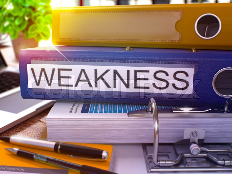 Stock image of 'Weakness - Blue Office Folder on Background of Working Table with Stationery and Laptop. Weakness Business Concept on Blurred Background. Weakness Toned Image. 3D.'
