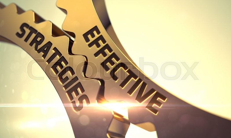 Stock image of 'Effective Strategies - Industrial Illustration with Glow Effect and Lens Flare. Golden Cog Gears with Effective Strategies Concept. Effective Strategies Golden Gears. 3D.'