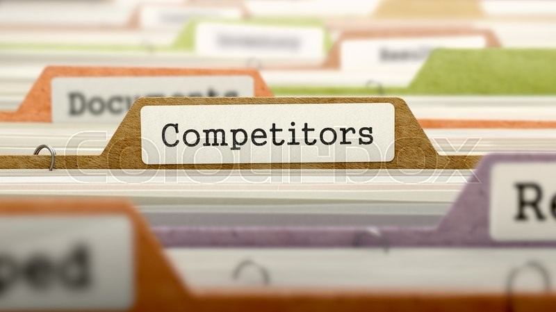 Stock image of 'Competitors Concept on Folder Register in Multicolor Card Index. Closeup View. Selective Focus. 3D Render.'