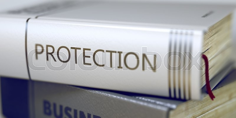 Stock image of 'Protection - Leather-bound Book in the Stack. Closeup. Close-up of a Book with the Title on Spine Protection. Book Title of Protection. Blurred 3D Illustration.'