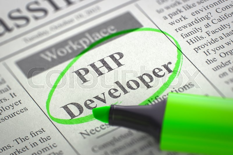 Stock image of 'A Newspaper Column in the Classifieds with the Jobs of PHP Developer, Circled with a Green Marker. Blurred Image with Selective focus. Job Search Concept. 3D Render.'