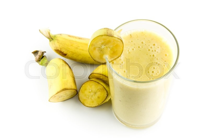 Stock image of 'banana juice and smoothies with banana fruit on isolated background'