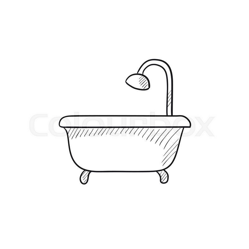 Bathtub With Shower Vector Sketch Icon Stock Vector Colourbox