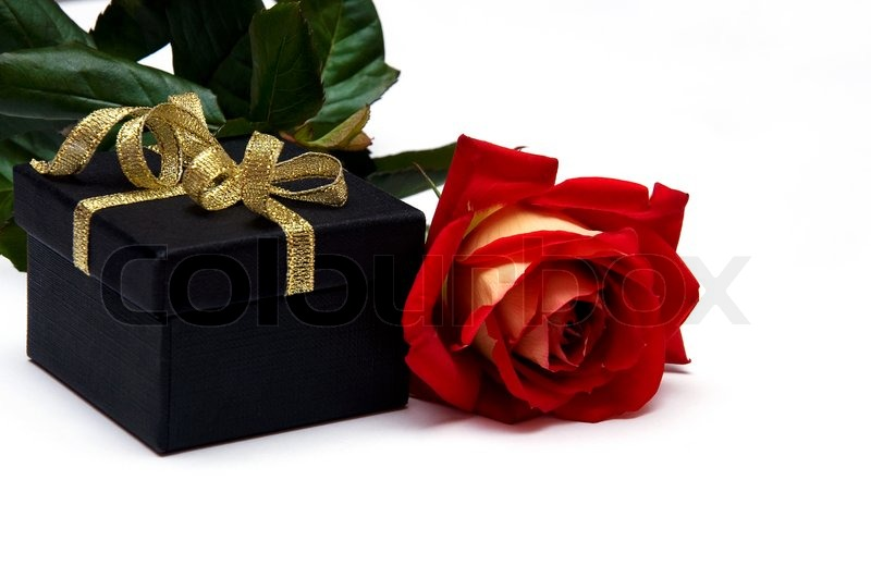 Black Gift Box With Gold Ribbon And Singl Red Rose On