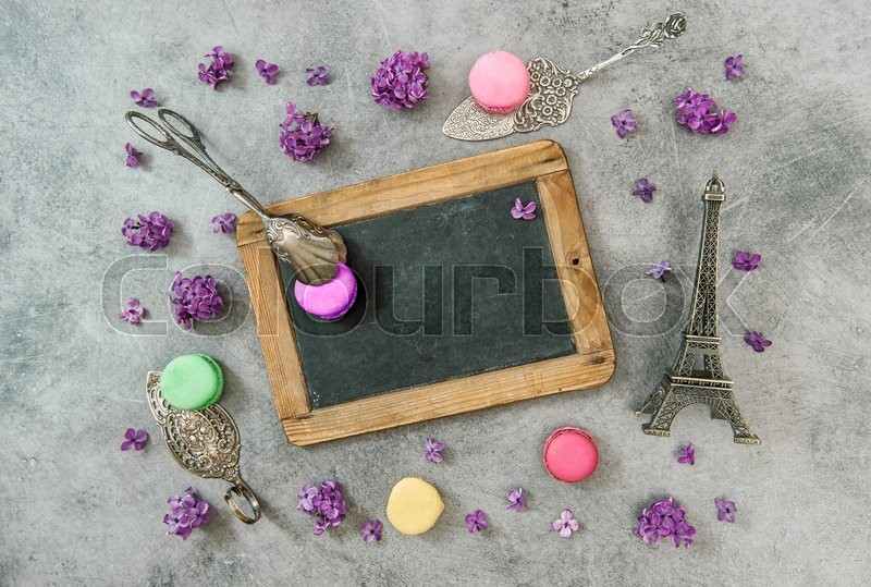 Stock image of 'Macaroon cookies with Eiffel tower Paris souvenir. Vintage decorations'