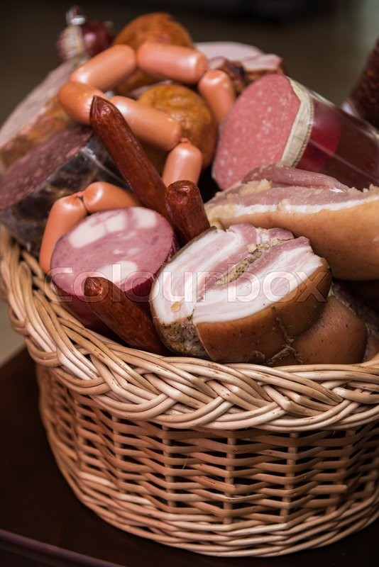 Stock image of 'Variety of sausage products. close-up'
