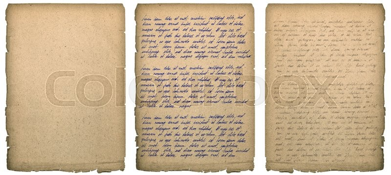 Stock image of 'Old book page with worn edges isolated on white. Paper texture background. Handwritten letter. Latin text Lorem ipsum. Handwriting. Calligraphy. Manuscript. Script. '