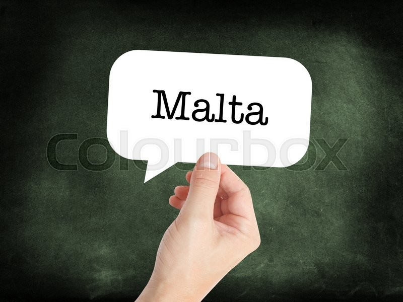 Stock image of 'Malta written on a speechbubble'