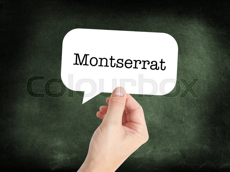 Stock image of 'Montserrat written on a speechbubble'