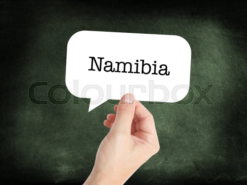 Stock image of 'Namibia written on a speechbubble'