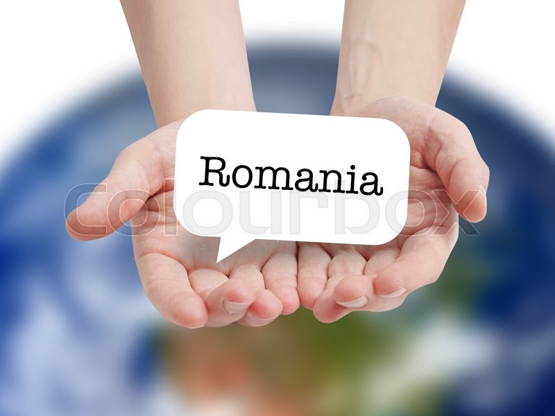 Stock image of 'Romania written on a speechbubble'