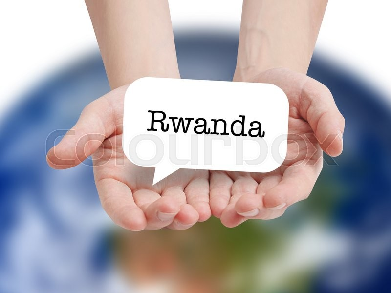 Stock image of 'Rwanda written on a speechbubble'