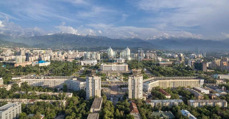 Editorial image of 'ALMATY, KAZAKHSTAN - JUNE 7, 2016: Aerial view of the building of city administration at the Republic Square in Almaty, Kazakhstan.'