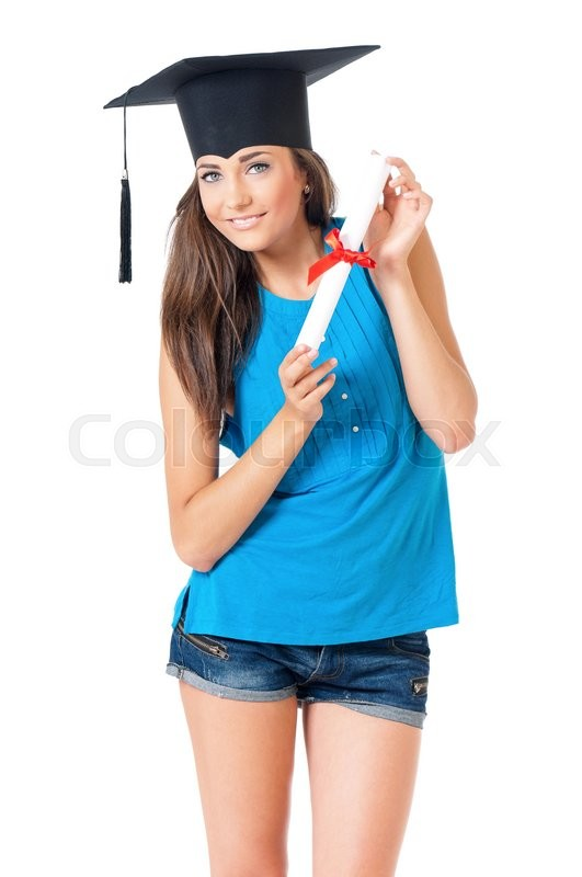 Stock image of 'Beautiful girl with graduation hat holding diploma certificate, isolated on white background'