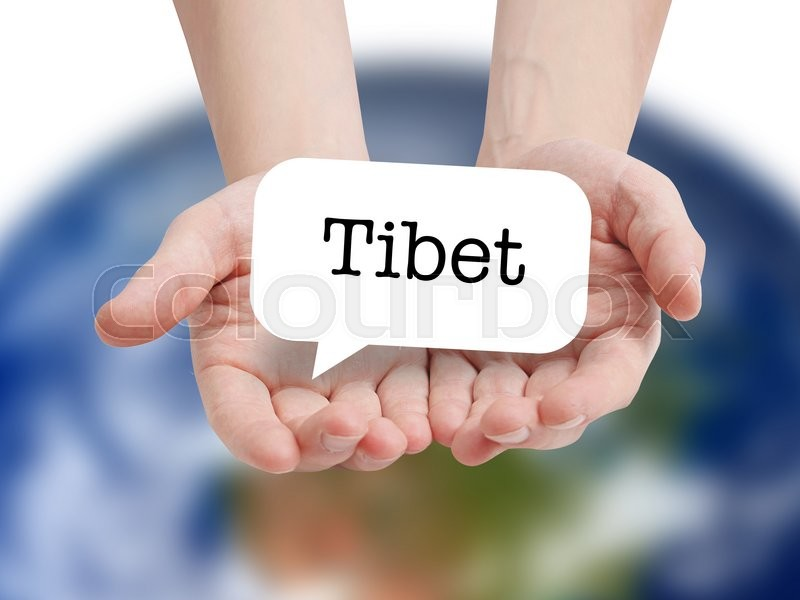 Stock image of 'Tibet written on a speechbubble'