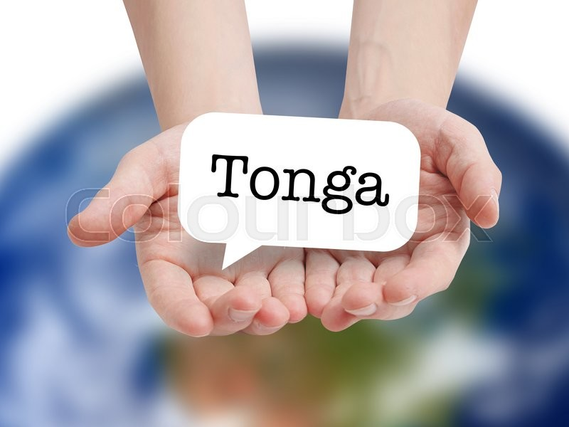 Stock image of 'Tonga written on a speechbubble'