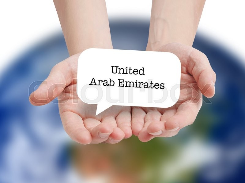 Stock image of 'United Arab Emirates written on a speechbubble'
