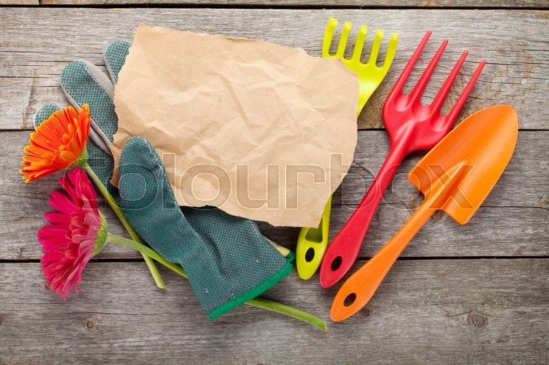 Stock image of 'Gardening tools, gloves, paper for copy space and gerbera flowers on wooden table background'