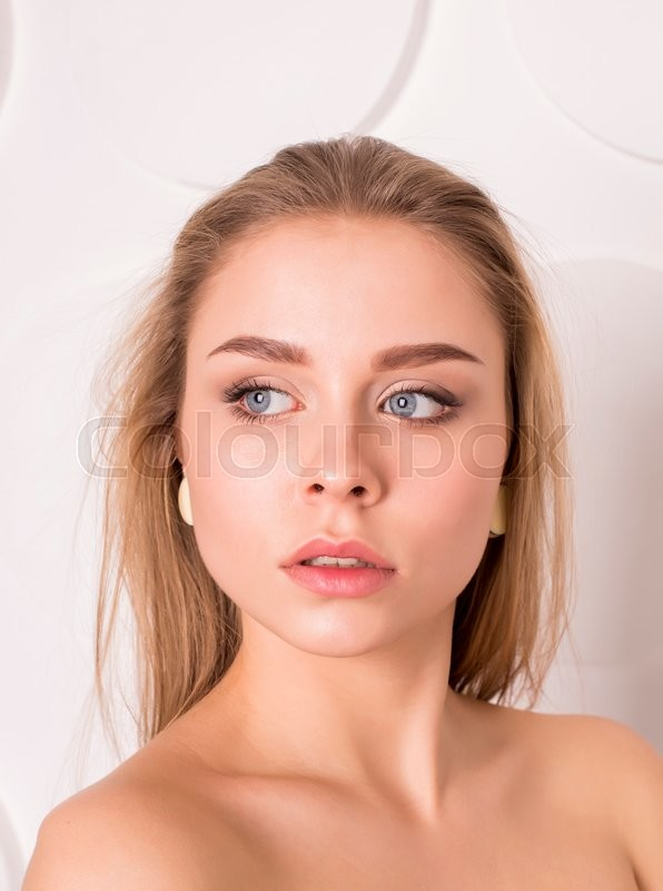 Stock image of 'Beauty Model Woman Face. Perfect skin. Professional Make-up.Makeup'
