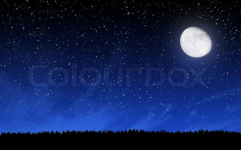 Stock image of 'Deep night sky with many stars and moon over forest background'
