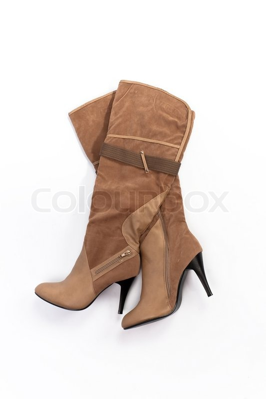 Brown leather boots women stock image of brown women s