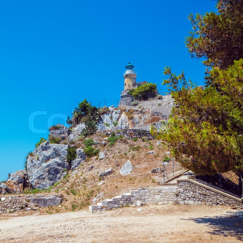 Stock image of 'Lighthouse at Old Fortress in Kerkyra, Corfu island, Greece'