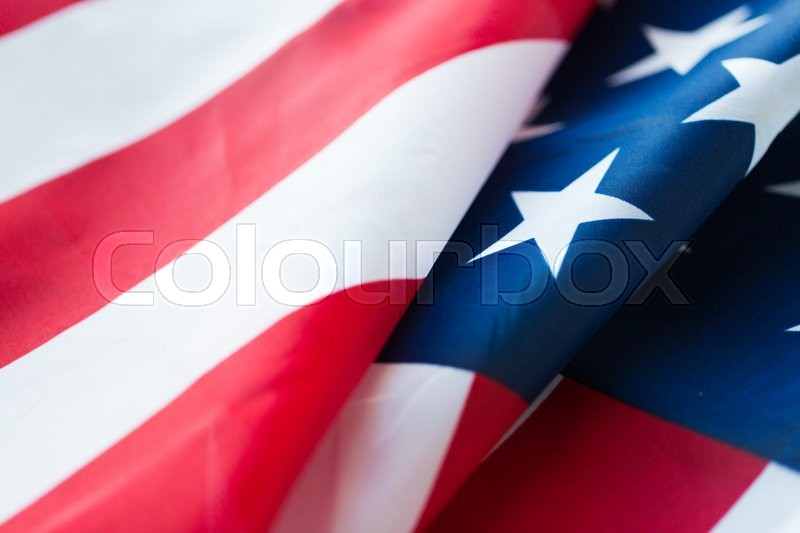 Stock image of 'american independence day, patriotism and nationalism concept - close up of american flag'