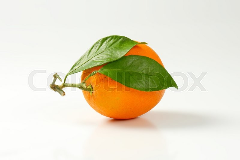 Stock image of 'Single whole orange with two leaves'